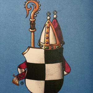 En rutig vapensköld, en biskopsmitra och en biskopsstav